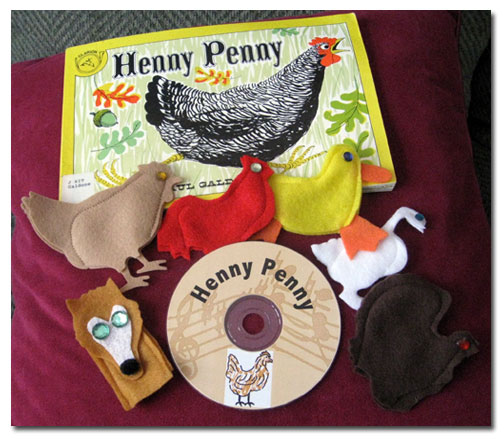 Henny Penny felt finger puppets with CD by Adventureland Puppets and Joanne Schroeder