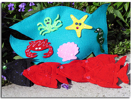 ocean stories felt finger and hand puppets by Adventureland Puppets and Joanne Schroeder