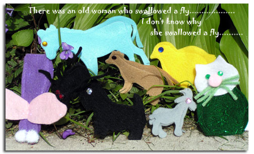 Old Lady who swallowed a fly felt finger puppets by Adventureland Puppets and Joanne Schroeder